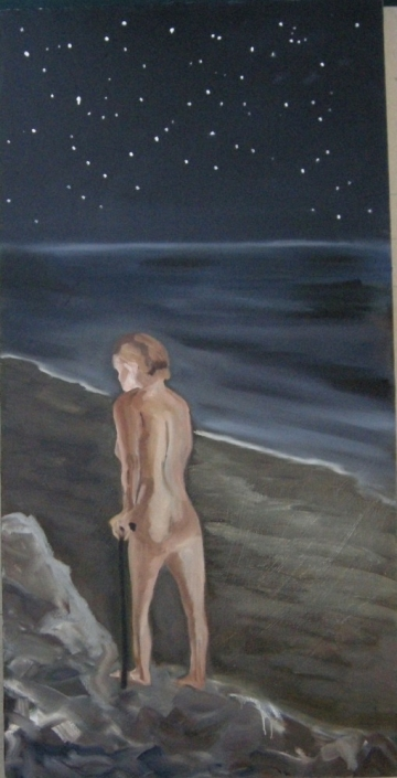 "The Night Searcher, 42"" x 24"", Oil on canvas, 2011"
