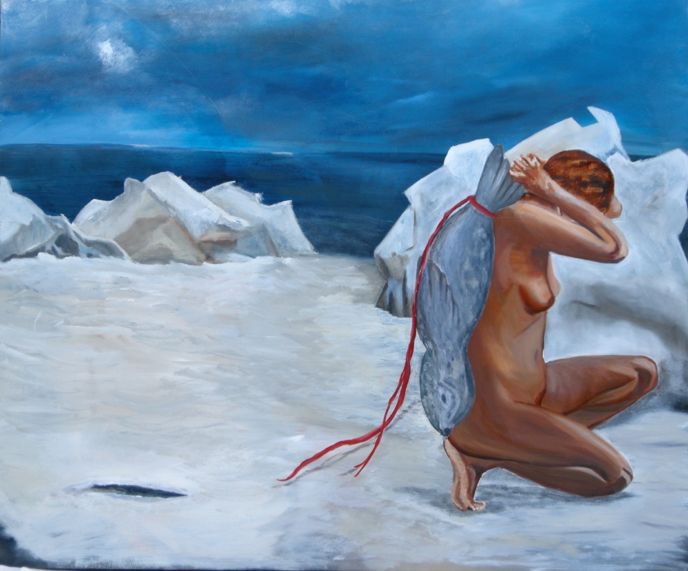 "Seal Woman, 24"" x 36"", Oil on Canvas, 2009"