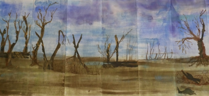 "Page from: Reflective weavings from silent currents from the Seine, 2017 - 2019, watercolor, inks, charcoal, collage, on Shikoko paper. 13"" x 240"""