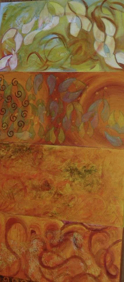 "The Origin of Bees, triptych, 96"" x 30"", mixed media acrylic on canvas, 2004"