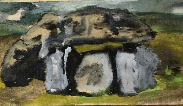 Detail of Dolman, 2018, 12 x 36. oil on oak board.
