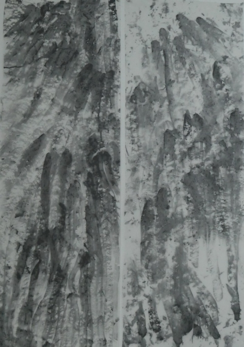 "Whispers of the Menhir, Diptych, 46"" x 33"", Graphite on Fabric, 2019"